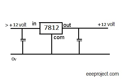 ic 7812 voltage regulator pin and circuit explained. Black Bedroom Furniture Sets. Home Design Ideas