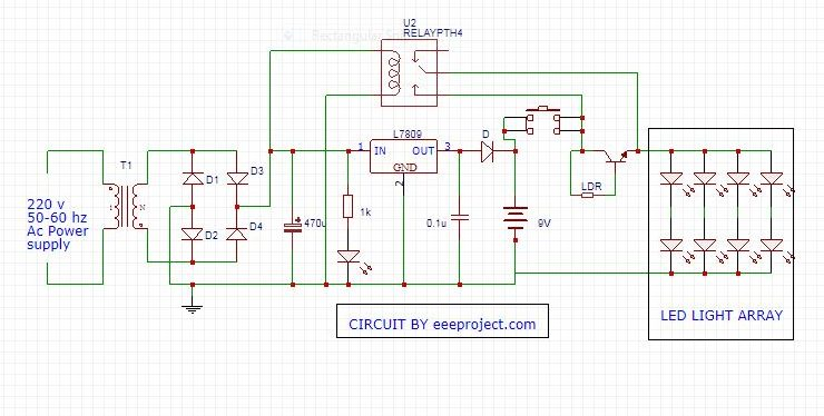 Automatic Emergency Light Circuit